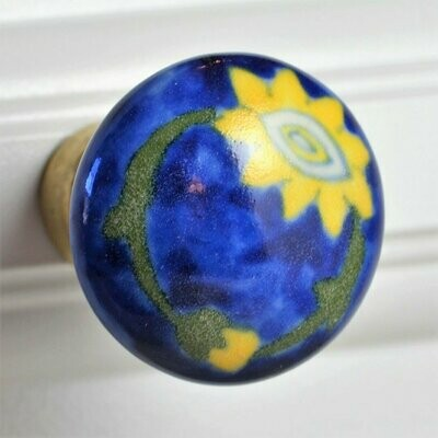 Charleston Knob Company  YELLOW AND BLUE COTTAGE CHIC CERAMIC CABINET KNOB
