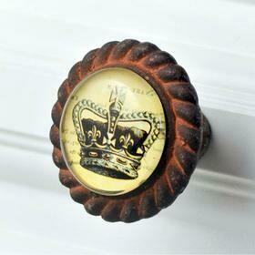 Charleston Knob Company ANTIQUE IRON W/GLASS INLAY KINGS CROWN CABINET KNOB