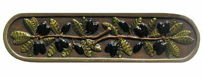 Notting Hill Cabinet Pull Olive Branch Brass Hand Tinted  4