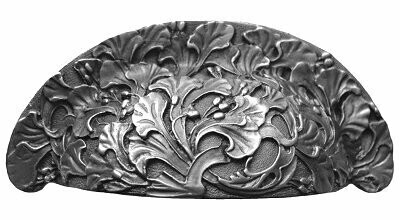 Notting Hill Cabinet Bin Pull Florid Leaves Antique Pewter 4-1/8