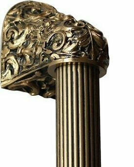 Notting Hill Cabinet Hardware Acanthus/Fluted Bar 24K Satin Gold Overall 14