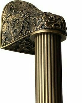 Notting Hill Cabinet Hardware Florid Leaves/Fluted Bar Antique Brass Overall 16