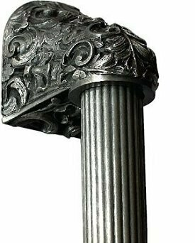 Notting Hill Cabinet Hardware Acanthus/Fluted Bar Brilliant Pewter Overall 12