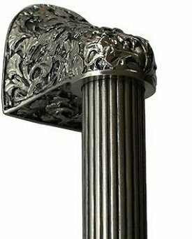 Notting Hill Cabinet Hardware Florid Leaves/Fluted Bar Satin Nickel Overall 12