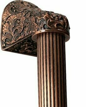 Notting Hill Cabinet Hardware Florid Leaves/Fluted Bar Antique Copper Overall 12