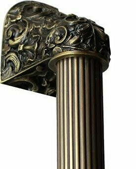 Notting Hill Cabinet Hardware Acanthus/Fluted Bar Antique Brass Overall 16