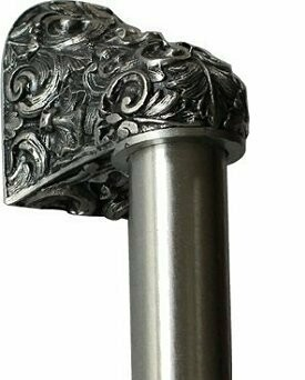 Notting Hill Cabinet Hardware Acanthus/Plain Bar Brilliant Pewter Overall 16