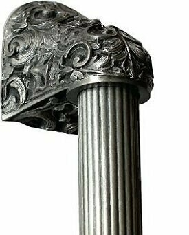 Notting Hill Cabinet Hardware Acanthus/Fluted Bar Antique Pewter Overall 14