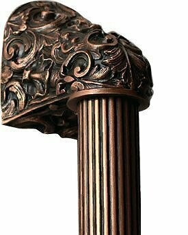 Notting Hill Cabinet Hardware Acanthus/Fluted Bar Antique Copper Overall 12