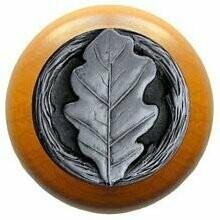 Notting Hill Cabinet Knob Oak Leaf/Maple Antique Pewter 1-1/2