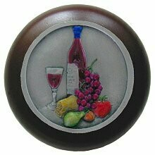 Notting Hill Cabinet Knob Best Cellar Wine/Dark Walnut Pewter Hand Tinted 1-1/2