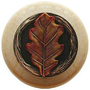 Notting Hill Cabinet Knob Oak Leaf/Natural Brass Hand Tinted1-1/2