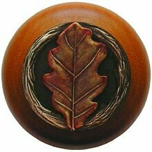 Notting Hill Cabinet Knob Oak Leaf/Cherry Brass Hand Tinted  1-1/2