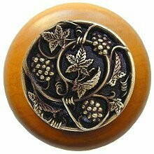 Notting Hill Cabinet Knob Grapevines/Maple Antique Brass 1-1/2