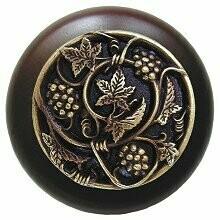 Notting Hill Cabinet Knob Grapevines/Dark Walnut Antique Brass 1-1/2