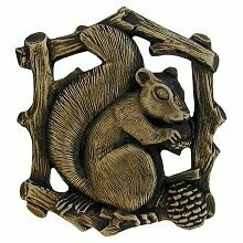 Notting Hill Cabinet Knob Grey Squirrel (Left side/faces right) Antique Brass  1-1/2