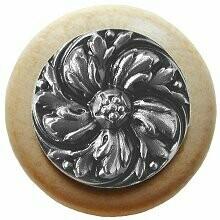 Notting Hill Cabinet Knob Chrysanthemum/Natural Satin Nickel 1-1/2