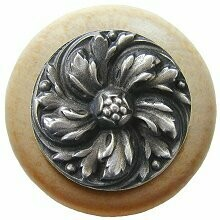 Notting Hill Cabinet Knob Chrysanthemum/Natural Antique Pewter  1-1/2