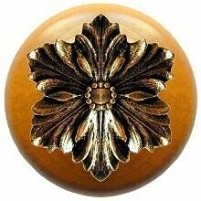 Notting Hill Cabinet Knobs Opulent Flower/Maple Brite Brass 1-1/2