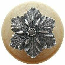 Notting Hill Cabinet Knob Opulent Flower/Natural Antique Pewter 1-1/2