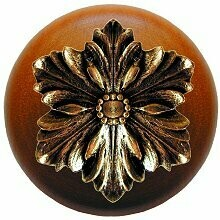 Notting Hill Cabinet Knob Opulent Flower/Cherry Brite Brass 1-1/2