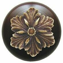 Notting Hill Cabinet Knob Opulent Flower/Dark Walnut Antique Brass 1-1/2