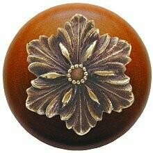 Notting Hill Cabinet Knob Opulent Flower/Cherry Antique Brass 1-1/2