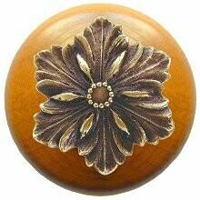Notting Hill Cabinet Knob Opulent Flower/Maple Antique Brass 1-1/2