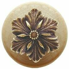Notting Hill Cabinet Hardware Opulent Flower/Natural Antique Brass 1-1/2