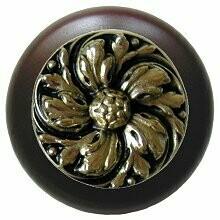 Notting Hill Cabinet Knob Chrysanthemum/Dark Walnut Brite Brass 1-1/2