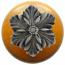 Notting Hill Cabinet Hardware Opulent Flower/Maple Satin Nickel 1-1/2