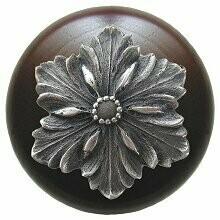 Notting Hill Cabinet Hardware Opulent Flower/Dark Walnut Antique Pewter 1-1/2