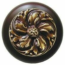 Notting Hill Cabinet Knob Chrysanthemum/Dark Walnut Antique Brass 1-1/2