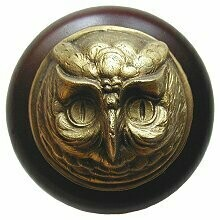 Notting Hill Cabinet Knob Wise Owl/Dark Walnut Antique Brass 1-1/2