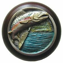 Notting Hill Cabinet Knob Leaping Trout/Dark Walnut Pewter Hand Tinted  1-1/2