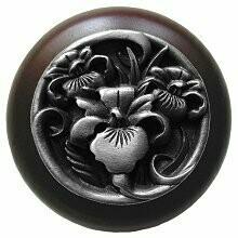 Notting Hill Cabinet Knob River Iris/Dark Walnut Antique Pewter 1-1/2