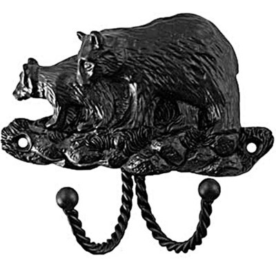 Sierra Lifestyles / Big Sky Cabinet Hardware Decorative Hook - Black Bear - Black