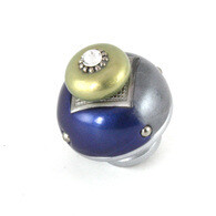 Susan Goldstick Nu Duo Deep Lapis Moonstone 1.5 inch Cabinet Knob