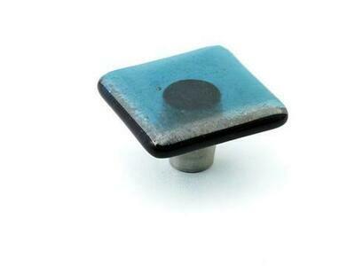 Windborne Studios Cabinet Hardware  Square Knob Steel Blue, 1.5