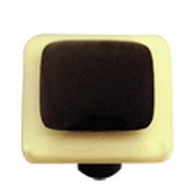 Hot Knobs Glass Cabinet Knob French Vanilla Border Collection Black