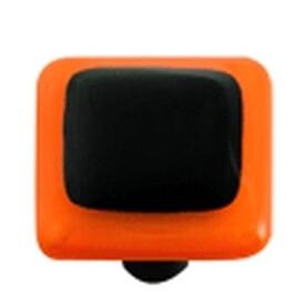 Hot Knobs Glass Cabinet Knob Opal Orange Border Black