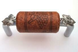Vine Designs Brushed Chrome Cabinet Handle, mahogany cork, silver leaf accents