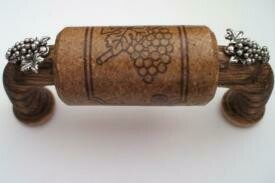 Vine Designs Espresso Cabinet Handle, matching cork, silver grapes accents