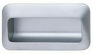 Hafele Cabinet Hardware, Mortise Pull, zinc, nickel matt, center to center 110mm