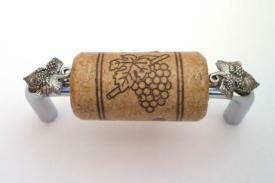 Vine Designs Chrome Cabinet Handle, walnut cork, silver leaf accents