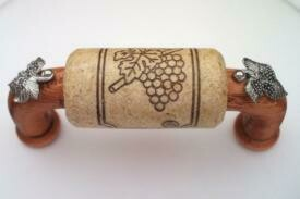 Vine Designs Cherry Cabinet Handle, natural cork, silver leaf accents