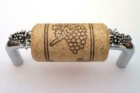 Vine Designs Chrome Cabinet Handle, natural cork, silver grapes accents