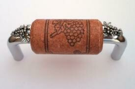 Vine Designs Chrome Cabinet Handle, cherry cork, silver grapes accents