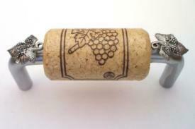 Vine Designs Brushed Chrome Cabinet Handle, natural cork, silver leaf accents