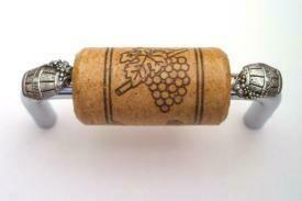 Vine Designs Chrome Cabinet Handle, oak cork, silver barrel accents